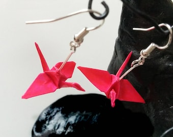 Japanese crane earrings neon pink origami
