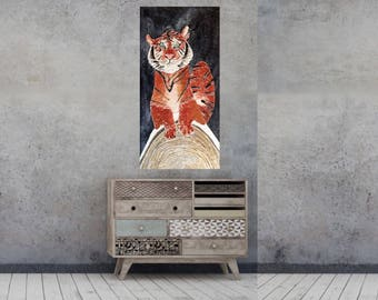 Tiger painting - original textured art - wall decor artwork - Bengal tiger sculpture on canvas with texture - modern abstract