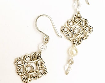 Pearl earrings, Sterling silver earrings, Filigree drop Earrings