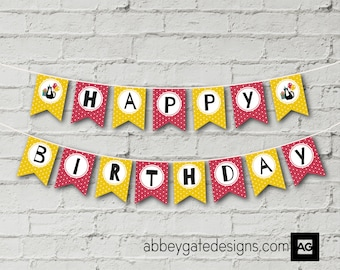 Cat Birthday Bunting, Instant Download,  Printable Cat Birthday Banner, Red and Yellow Bunting, Cat Party Bunting, Cat Party Banner