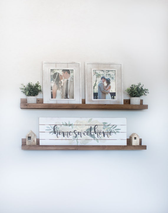 Rustic Wooden Picture Ledge Shelf, Ledge Shelf, Ledge Shelves, Rustic Floating Shelf, Wooden Shelf, Rustic Home Decor, Gallery Wall, Gallery