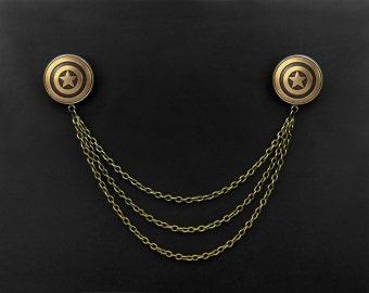 Pentagram Collar Pins -Super Hero Lapel Pins -Captain America Collar Brooch -Lapel Chains Accessory