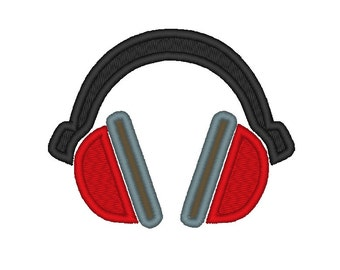 Music Headphones 1 Applique.INSTANT DOWNLOAD  Machine Embroidery Design Digitized File