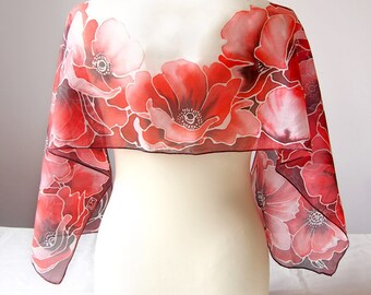 Red Poppies silk scarf - handpainted silk scarves - vivid red scarf - red silk scarves - poppies scarf - poppy scarf - white and red scarf