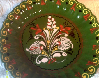 Vintage Hand Painted Glazed Decor Wall Plate, Hand Painted Plate, Green Wall Plate, Dutch Wall Plate, Pottery Wall Plate, Large Wall Plate