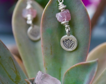 Raw Pink Tourmaline Earrings with Pure Hilltribe Silver Beads and Lotus