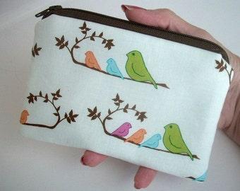 Bird Zipper pouch Little Coin Purse Gadget Case  ECO Friendly Padded Bird Line Up