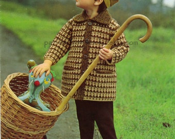 Crochet Coat Pattern Vintage PDF B012 from WonkyZebraBaby