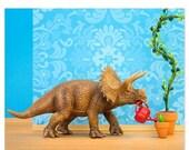 30% OFF SALE Dinosaur decor triceratops wall art print - Green Thumb
