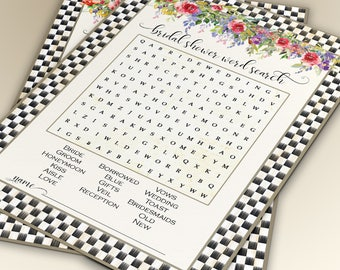 BRIDAL SHOWER  GAME Word Search Game Wedding Word Search Printable Game Card Instant Download File Flowers 2001