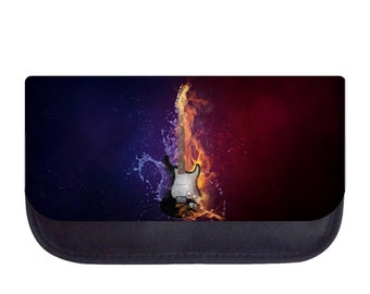 Fire and Water Guitar - Black Pencil Bag - Pencil Case