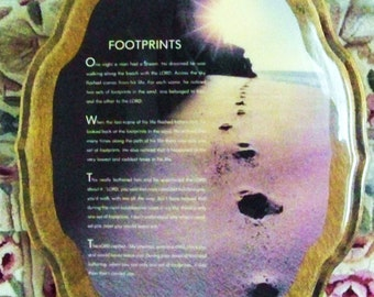 """Vintage Large Wooden Plaque / Wall Hanging of """"Footprints"""" Saying / Christian Art / Wall Art"""