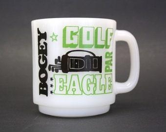 Vintage Glasbake Milk Glass Golf Terms Mug (E5504
