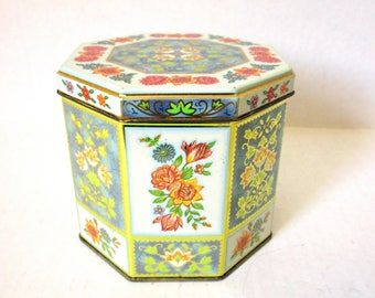 Daher Tin Box, Daher Floral Tin Box Container, Made in England, Octagonal Cookie Biscuit Tea Tin, Stylized Flowers Gold Accents, Octagon Tin