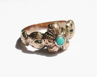 VICTORIAN 9ct Gold Pansy Turquoise Ring | Turquoise Flower Ring | Antique Pansy Ring | Vintage Flower Ring | Gold Pansy Ring
