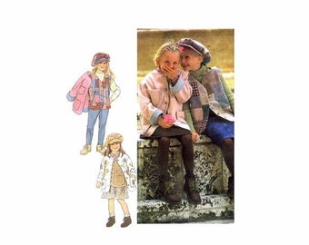 SALE Girls Jacket Vest Hat Style 2517 Vintage Sewing Pattern Size 4 - 5 - 6 - 7 - 8 - 9 - 10 UNCUT