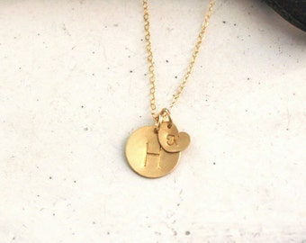 Gold Initial Necklace, Gold Heart Initial, Hand Stamped Personalized, Custom Initial Necklace, Two Initial Charms
