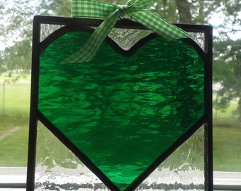 Emerald Green Heart- Stained Glass Mini Panel w/Green Print Ribbon Bow- 4inX4in