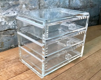 Lucite Acrylic Clear Storage Box with Drawers