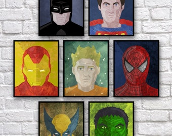 "Superheroes Vect-o-Grunge 8x10"" Digital Prints (set of 7)"
