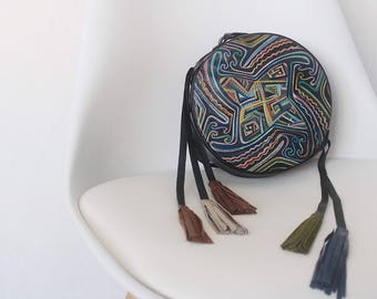 Leather circle bag, Crossbody bag, Bohemian leather clutch, Frinfe bag, Bag with tassels, Hand painted leather bag, Leather womens clutch