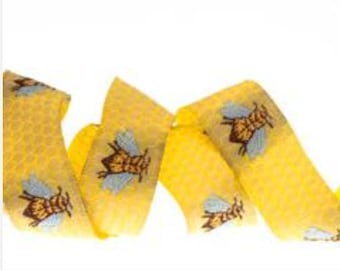 Renaissance Ribbons Jacquard Honey Bees LFNT  44 Yellow