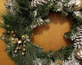 Flocked Artificial Canadian Pine Jingle Bells Wreath