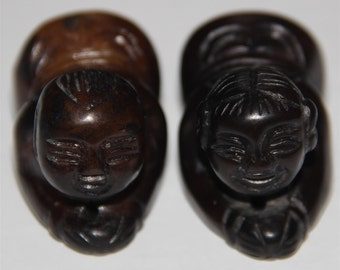 Very Beautiful Chinese Jade Carved Pair of Boy and Girl Statue