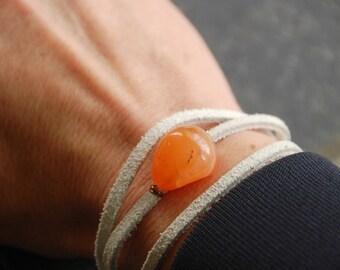 Orange gemstone wrapped bracelet,white suede wrapped bracelet,festival,layering bracelet,yoga bracelet,boho bracelet,stone bracelet