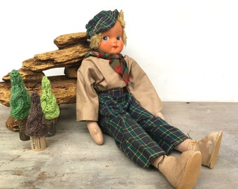 Vintage Cloth Doll Plastic Face Rustic Cabin Decor Hiker Lady Girl
