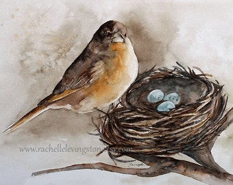 bird painting bird watercolor painting of bird art print bird ATC nest painting nest art print nest robin brown SMALL Artist Trading Card