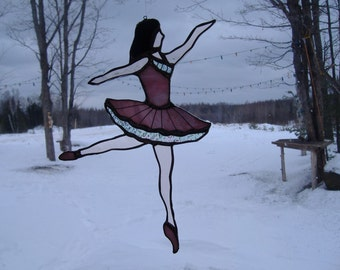 dancer stained glass suncatcher