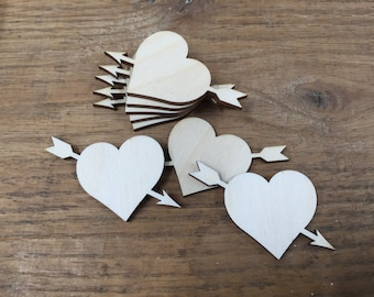 Crafting Supplies - 25 Laser cut wooden Hearts with Arrow