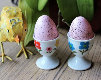 VINTAGE egg cups - ATC Japan - bright sunny flowers - 70s - hippy happy bohemian egg cups