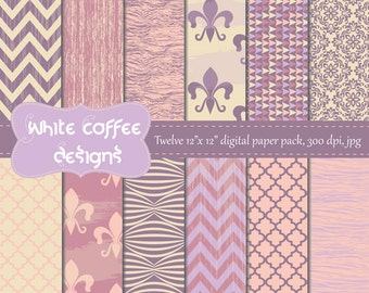 Mother's day, digital paper, mom, grandma, fleur de lis, chevron, quatrefoil and wood in purple and pink, premade pages, paper goods