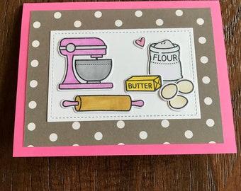 Baking card, birthday card, baker card, card for baker, gift for baker, baking lover gift, birthday card for her, birthday greeting, baking