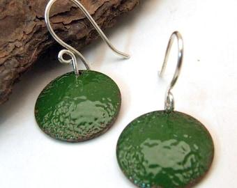 Copper Enamel Earrings - ALLIGATOR GREEN - Medium Round Dangly Discs on Handmade Sterling Silver Ear Wires