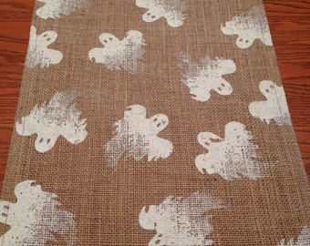 Ghosts Table Runner - Burlap with White Ghosts - Burlap Table Runner - Halloween Table Runner-Handmade Table Runner