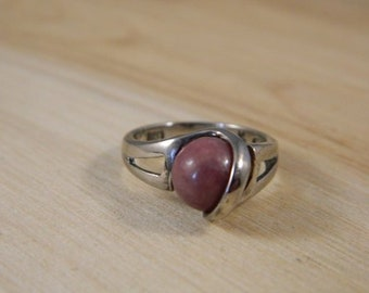 Sterling Silver Maroon Stone Ring, Vintage Removeable Stone Sterling Ring Size 6, Vintage Silver Ring with Changeable Stone Accent