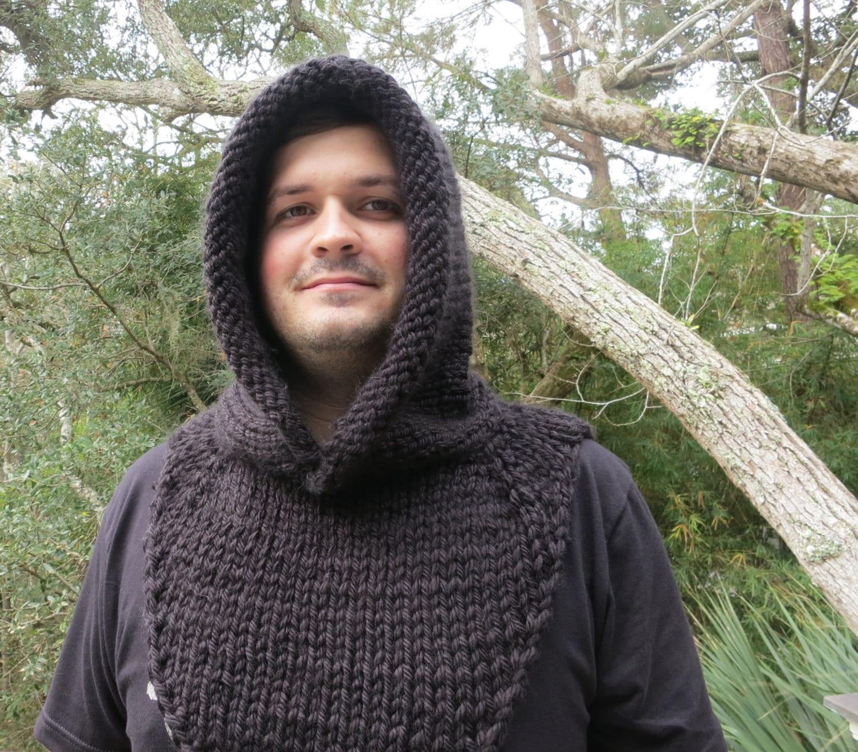 Knitting Pattern, Hat Knitting Pattern, Mens Hooded Cowl, Robin Hood ...