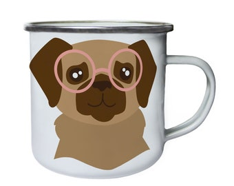 Dog in hipster glasses ,Tin, Enamel 10oz Mug v983e