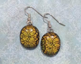 Orange Earrings, Dangle Earrings, Hypoallergenic, Dichroic Fused Glass Jewelry, Halloween, Autumn, Ready to Ship - - 2031-6