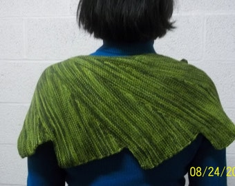 Handknit knitted batwing shoulder wrap shawl scarflette hand dyed green avocado olive