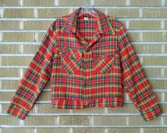 1970s plaid cropped jacket, neon plaid -small/medium-