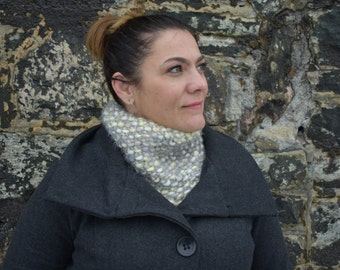 Silver and White Knit Cowl, Winter Cowl, Winter Scarf, Dressy Cowl, Shimmer Cowl, New Years Cowl, New Years Scarf