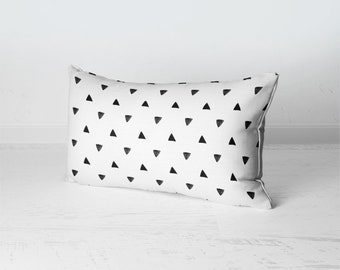 Geometric Throw Pillow, Rectangular Throw Pillow, Scandinavian Home Decor, Black And White Triangles Pillow, Scandinavian Pillow
