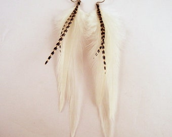 Feather Earrings Natural white and Grizzly long