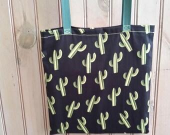 cactus bag Tote, grocery bag, kids library bag handmade