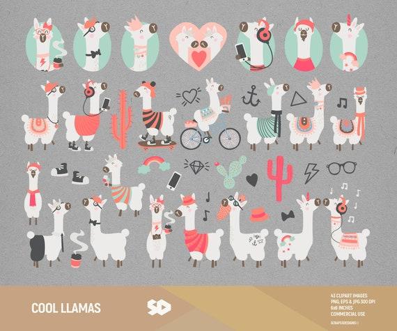 Cool Llama Clipart Cactus Clip Art Alpaca Hipster