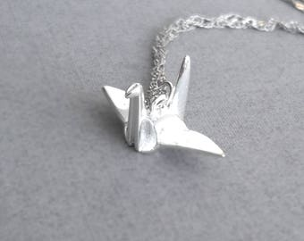 Sterling Silver Origami Crane Necklace, Silver Crane Necklace, Silver Bird Necklace, Origami Animal Jewelry,Anniversary, Father's Day gift